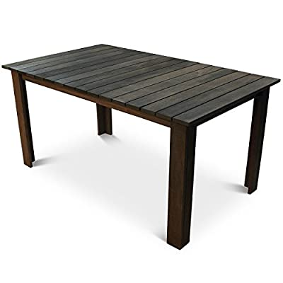 Somerset Dark Brown Hardwood Wooden Garden Table - 150x90cm Outdoor Wood Dining Table With Room For 6 Adults - cheap UK light store.