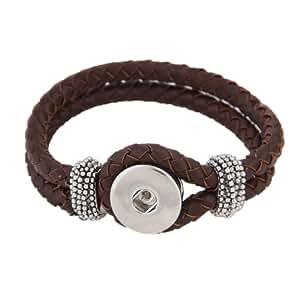 Morella Damen Click-Button Armband Leder geflochten braun
