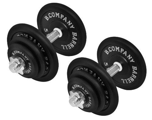 Guss Kurzhantel-Set 40Kg (2 x Kurzhantelstange 35cm und 4x1,25, 4x2,5 und 4x5Kg Hantelscheiben) Hantelset Hanteln Gewichte