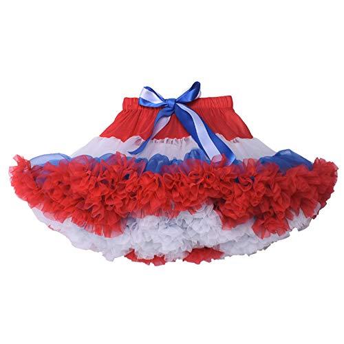 Boomly Baby Mädchen Mutter Tutu Rock Prinzessinenkleid Mesh Rock Kostüm Rock Halloween Kleid Party Tanz Ballett Minikleid (Rot + Weiß + Blau, Baby - Mutter Baby Mädchen Kostüm