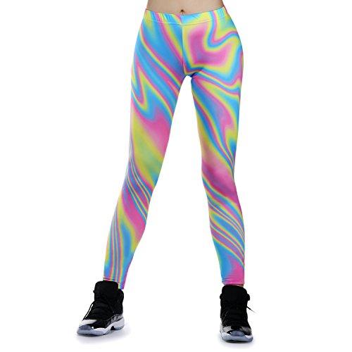 JewelryWe Damen Strumpfhose Sport Regenbogen Streifen Print Yoga Leggings Workout Fitness Running Pants Hose Mehrfarbig - Größe M(EU 36-38)