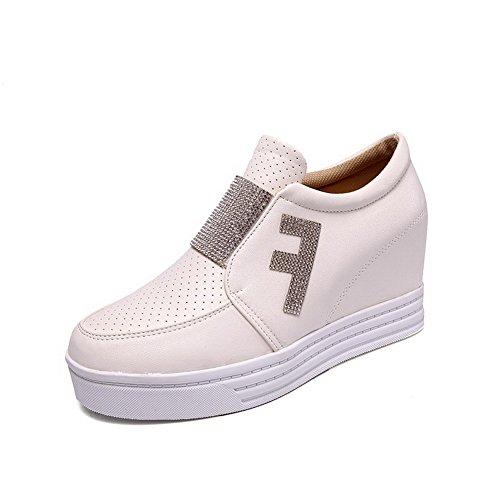 AgooLar Damen Hoher Absatz Rein Ziehen Auf Rund Zehe Pumps Schuhe Weiß