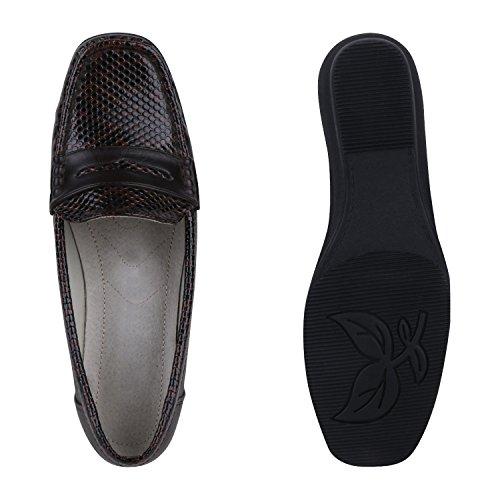 Damen Komfort Schuhe Perlen Pumps Schleifen Keilpumps Slipper Dunkelbraun Snake Carlet