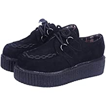 Wealsex damen Plateau schuhe low top Sneaker gothic punk creepers schuhe