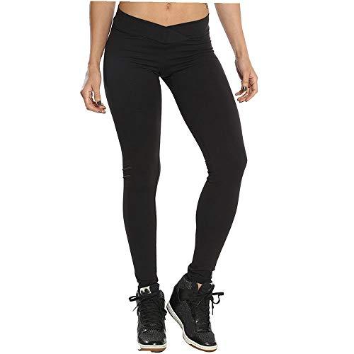 Yoga Mujer Deportivas Pantalones Trousers sólido Leggings Polainas para Mujer EláSticos Pilates Fitness Atlético Pantalones de correr del Estilo Estampado de pavo real Pantalones (XL, Negro)