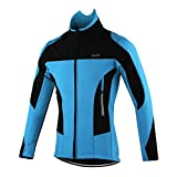 GWELL Herren Winter Multifunktionsjacke Trikot Wasserdicht Winddicht Fahrradjacke Radtrikot mit warm Fleece-Innenfutter Visible reflektierend blau XL