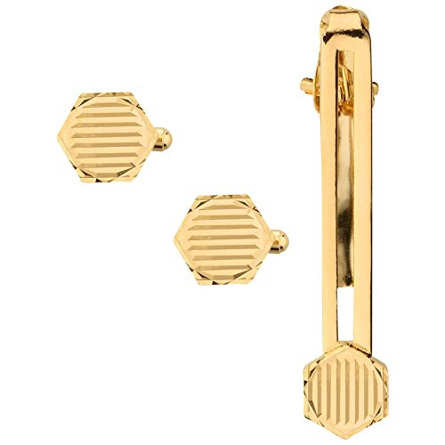 Tripin Golden Cufflinks set with matching tie pin for men in a...