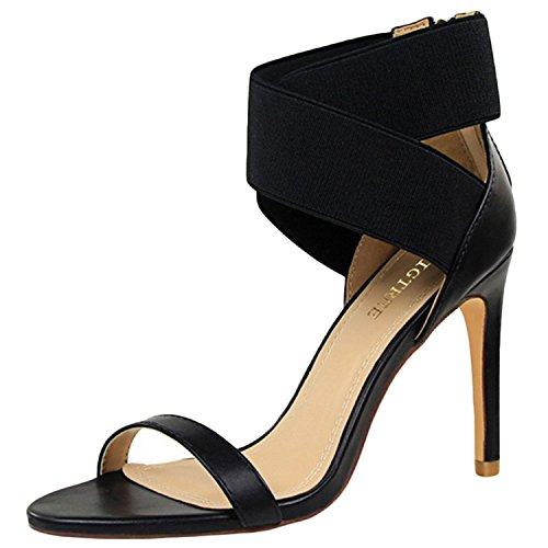 Azbro Women's Open Toe Cross Elastic Strap High Heels Sandals Black