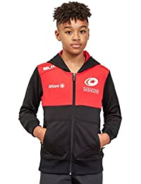 BLK Saracens 2017/18 Kids Full Zip Hooded Rugby Sweat - Red