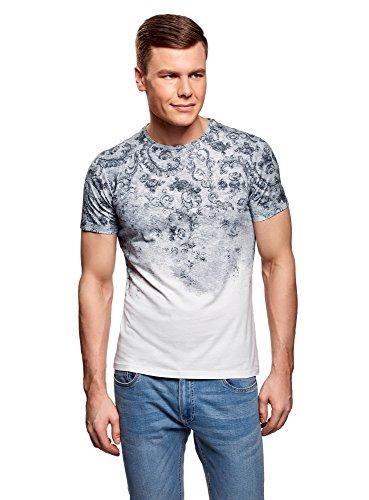 oodji Ultra Herren Bedrucktes Baumwoll-T-Shirt, Weiß, XL