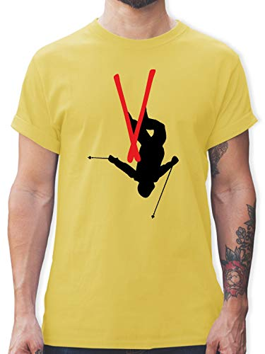 Wintersport - Freestyle Skiing - Freestyle Ski Tricks - M - Lemon Gelb - L190 - Herren T-Shirt und Männer Tshirt -