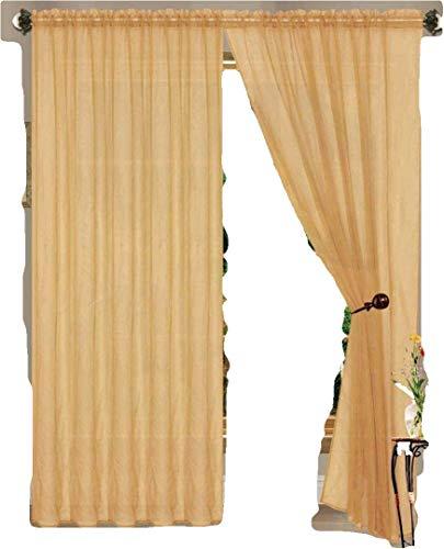 J&V TEXTILES 4er Pack Wert: massiv Sheer Fenster Vorhang Panels, Polyester-Mischgewebe, Gold, 55X84 -
