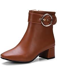 Easemax Damen Elegant Langschaft Halbhohe Riemen Martin Boots Stiefel Schwarz 39 EU VoaK48y7
