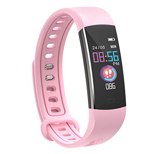 moreFit Fitness Tracker Kinder, Schrittzähler Uhr Fitness Armband mit Pulsmesser Schlafmonitor Stoppuhren Wasserdicht IP67 GPS Aktivitätstracker für Damen Herren Kinder (Rosa)