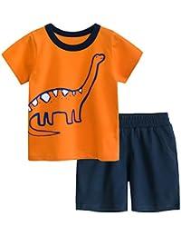 CARETOO Bebe Niño Conjunto de Camiseta + Pantalones Cortos de Manga Corta con cordón a Rayas de Verano para niño 2 Piezas