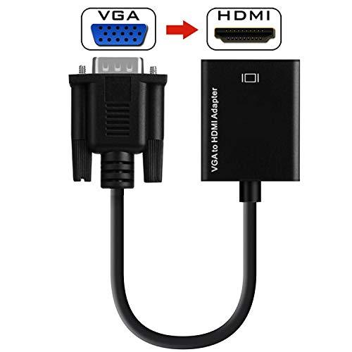 KANGLE VGA-Zu-HDMI-Adapter, VGA-Stecker Auf HDMI-Buchse Kabelkonverter Mit 1080P HD Video- Und Audio-Unterstützung Für Laptop, Projektoren, HD-Digital-TV