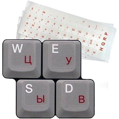HQRP–5-pack Ruso Cyrillic laminado Teclado Pegatinas con texto, color rojo sobre fondo Transparente para PC de sobremesa