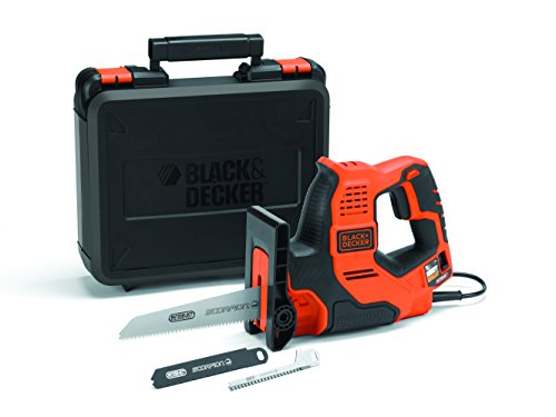 BLACK+DECKER RS890K-QS Sega Multifunzione Scorpion con Tecnologia AUTOSELECT in Valigetta + 3 Lame, 500 W, Black,Red