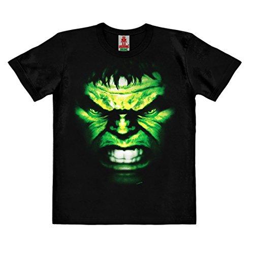 Marvel Comics - Hulk Gesicht Kinder Organic T-Shirt - schwarz - Bio Baumwolle - organic cotton - Lizenziertes Originaldesign - LOGOSHIRT , Größe 104, 3-4 (Kostüme Hulk Baby)