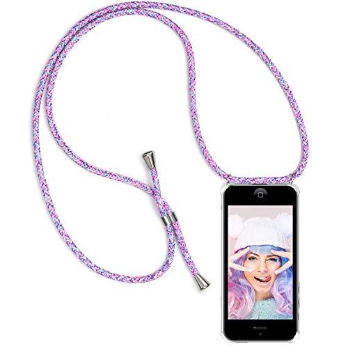 ZhinkArts Handykette kompatibel mit Apple iPhone 5 / 5S / SE - Smartphone Necklace Hülle mit Band - Schnur mit Case zum umhängen in Unicorn -