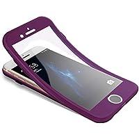 Surakey Funda para iPhone 7 /iPhone 8, Funda de 360 Grados con Vidrio A Prueba de Balas, Funda de Silicona Suave Completo Caja Protectora de Frente Y Espalda para iPhone 7 /iPhone 8,Morado
