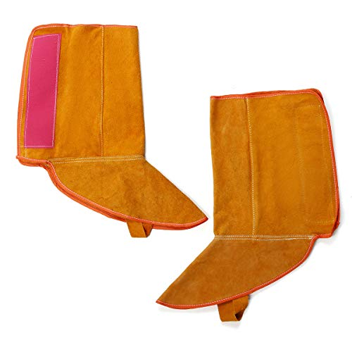 KUNSE 1Pair 8.3 Inch Cowhide Leder Schweißfütterung Schutzschutz Ärmel Flammwiderstand Sichere Handschuhe -