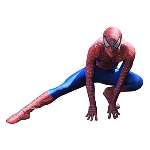 RNGNBKLS Classic Spiderman Heimkehr Kostüm Halloween Karneval Kinder Film Superheld Verkleidung Spandex Anzug,Red-L