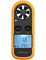 Neoteck Anemometer Digital LCD Wind Speed Meter Gauge Air Flow Velocity Measurement Thermometer with Backlight for Windsurfing Kite Flying Sailing Surfing Fishing