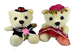 A-Mart soft toy teddy bear couple white for love valentine girls 8 inch