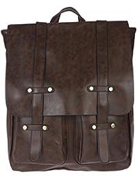 Fur Jaden Brown Artificial Leather Unisex Laptop Backpack Bag