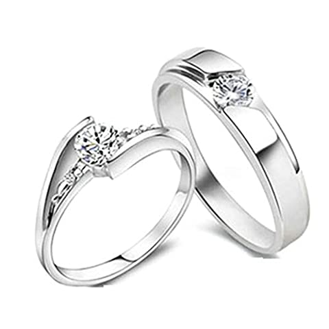 Gnzoe Women Engagement Rings Drill Cubic Zirconia Rings Eternity 4mm/5mm, Silver (Price One Pc)
