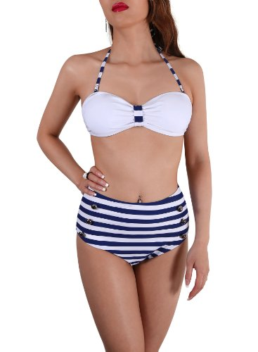 SODACODA Bandeau retro vintage de talle alto Bikini Sets Push Up Swims