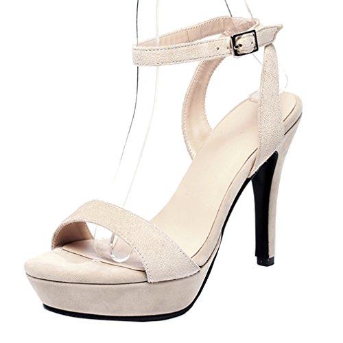YE Damen Kn枚chelriemchen Plateau Sandalen mit Schnalle Stiletto High Heel Pumps Schuhe Aprikose