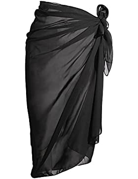 eBoot Bademode Chiffon Cover up Strand Sarong Wickeln Badeanzug Decken Up Bikini Strand Vertuschen, Schwarz