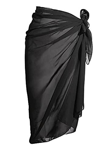 eBoot Swimwear Chiffon Cover up Beach Sarong Wrap Swimsuit Cover Up Bikini Beach Cover up, Black