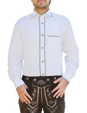 Trachtenhemd Freizeit Hemd für Trachten Lederhosen Weiß