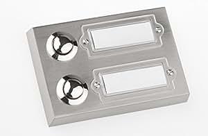 huber klingel klingeltaster 12002 2 fach aufputz rechteckig echtmetall mit namensschild aus. Black Bedroom Furniture Sets. Home Design Ideas