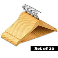 Nyxi 20 X Grade A, Clothes Hangers Natural Wooden Wood Clothes Coat Hangers with Round Trouser Bar and Shoulder Notches Strong Premium Heavy Duty