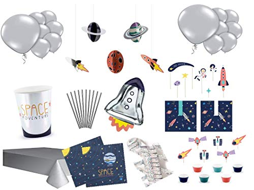 PS Party Deko Set Astronaut Weltall 12 Personen 126 teilig Kindergeburtstag Junge Party Komplett Set Party Geschirr Astronaut Rakete