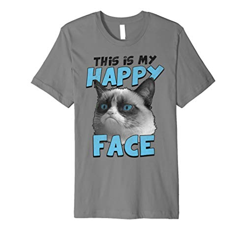 Cat Damen Rosa T-shirt (Grumpy Cat This Is My Happy Face Blue Text Graphic T-Shirt)