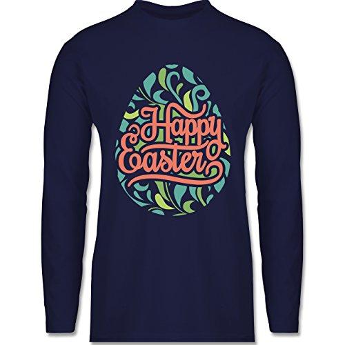 Ostern - Osterei Typografie floral - Longsleeve / langärmeliges T-Shirt für Herren Navy Blau