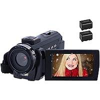 Videocamera 1080P 30FPS 24MP Videocamera HD Schermo da 3,0 Pollici Videocamera Digitale con Telecomando e 2 Batterie Ricaricabili per Vlogging, Registratore per Webcam