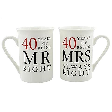 40th Commémoration Cadeau Jeu de 2 Chine Mugs 'Mr Droit & Mrs Toujours (Cina Tazze Set)