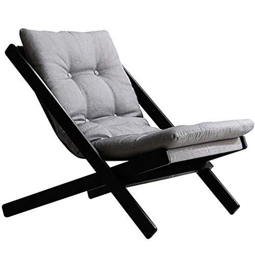 WJJJ Möbel Holz-Klappstuhl aus Buchenholz, schwarz, Hartholz, Gartensofa, Sessel mit Baumwollleinen, hoher Rückprall, Schwammkissen Sonnenliege, Stuhl Terrasse, Liegestuhl
