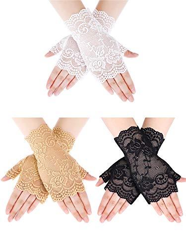 Damen Abend Handschuhe (Sunblocker Fingerlose Lace Handschuhe Handgelenk Länge Blume Handschuhe Braut Hochzeit Handschuhe für Damen Mädchen Prom Abend Hochzeit Partei)