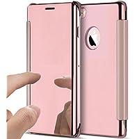 iPhone 6S Hülle,iPhone 6 Hülle,ikasus Überzug Spiegel Durchsichtig Handyhülle Flip Clear View Ständer Magnetisch Handy Tasche Hard Case Hülle Schutzhülle für iPhone 6S/6 Hülle,Rose Gold