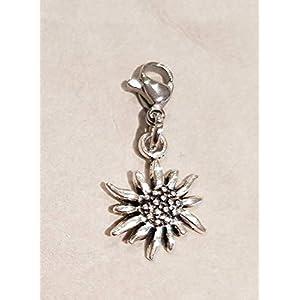 Charm ☘ Tracht ☘ Charivari☘ Edelweiß☘ Anhänger ☘ Karabiner ☘ Bettelarmband ☘ Schlüsselanhänger ☘Kette ☘ Farbe: silber