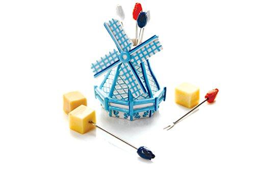 BOSKA Spießchen-Set Windmühle Delfter Blau 7-teilig, Edelstahl, Mehrfarbig, 9 x 9 x 12 cm, 7-Einheiten