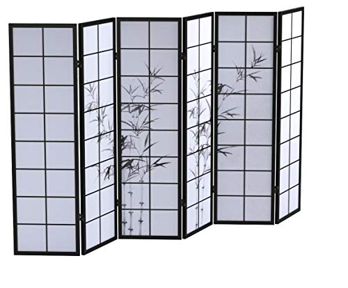 Homestyle4u 288, Paravent Raumteiler 6 teilig, Holz Schwarz, Reispapier Weiß Motiv Bambus, Höhe 175 cm