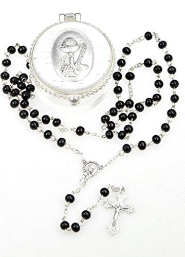 zur Ersten Heiligen Kommunion, edler Rosenkranz, schwarze Perlen und ein silberfarbenes Kreuz 51